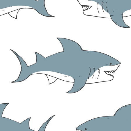 Shark seamless pattern, Hand drawn sketched doodle shark, vector illustration.  イラスト・ベクター素材
