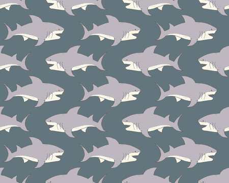 Shark seamless pattern, Hand drawn sketched doodle shark, vector illustration. Illustration
