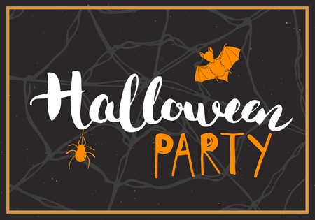 Halloween greeting card. Lettering calligraphy sign and hand drawn elements, party invitation or holiday banner design vector illustration. Vettoriali