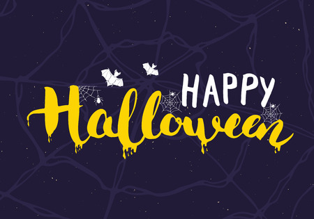 Halloween greeting card. Lettering calligraphy sign and hand drawn elements, party invitation or holiday banner design vector illustration. Ilustracja