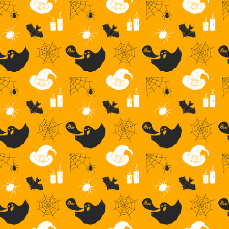 Halloween seamless pattern. Hand drawn sketched background, party invitation or holiday banner design vector illustration .