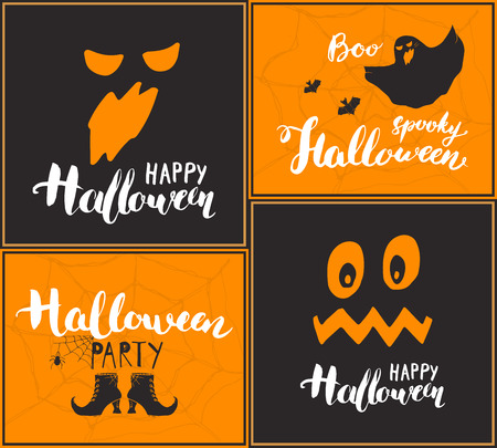 Halloween greeting cards set. Lettering calligraphy sign and hand drawn elements, party invitation or holiday banner design vector illustration. Vettoriali