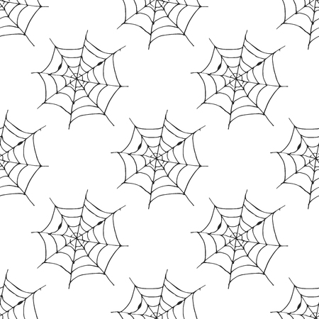 Spider web seamless pattern vector illustration. Hand drawn sketched web background .
