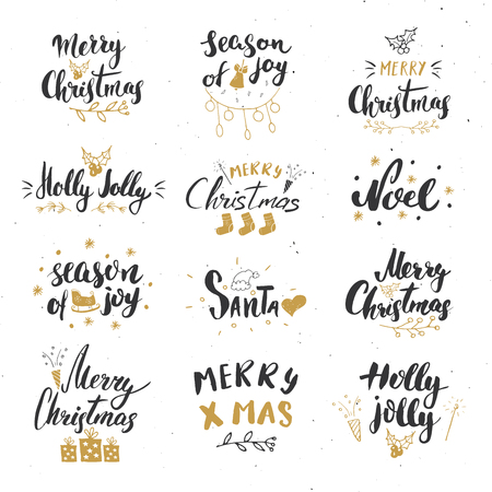 Merry Christmas Calligraphic Letterings Set. Typographic Greetings Design. Calligraphy Lettering for Holiday Greeting. Hand Drawn Lettering Text Vector illustration. Vector Illustration
