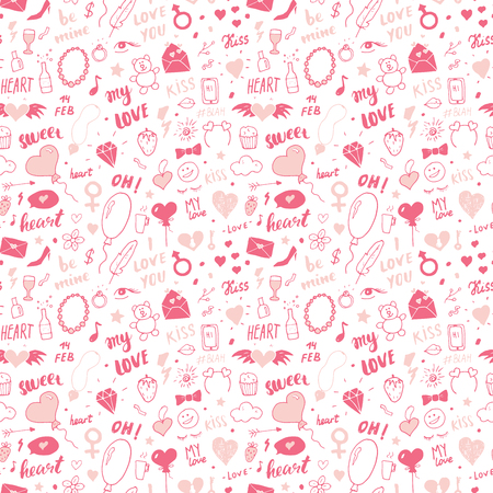 Love and Valentine Day seamless pattern vector illustration. Hand drawn sketched doodle romantic symbols background.
