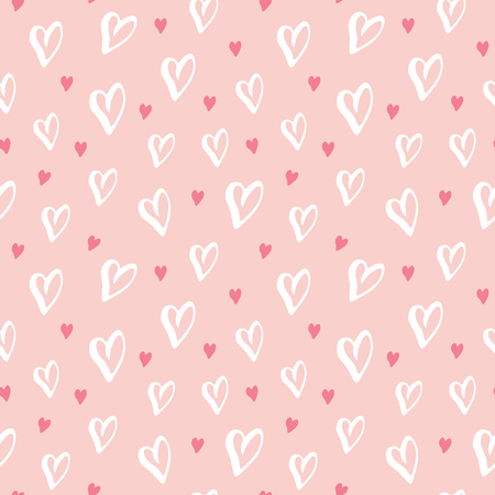 Heart symbol seamless pattern vector illustration. Hand drawn sketch doodle background. Saint Valentains Day or womens day background.