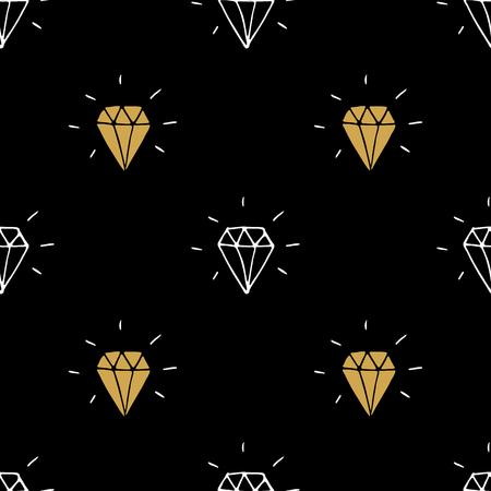 Ilustración de vector de patrón transparente de diamante. Dibujado a mano bosquejado doodle fondo de símbolos de diamantes.