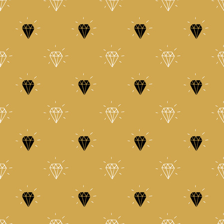 Diamond seamless pattern vector illustration. Hand drawn sketched doodle diamond symbols background.