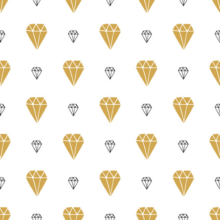 Diamond seamless pattern vector illustration. Hand drawn sketched doodle diamond symbols background.