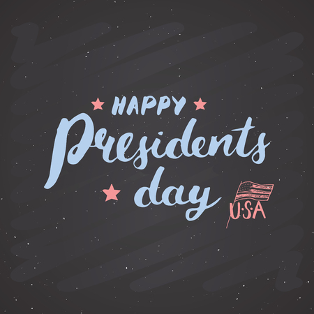 Happy President's Day Vintage USA greeting card, United States of America celebration. Hand lettering, american holiday grunge textured retro design vector illustration on ckalkboard Ilustrace