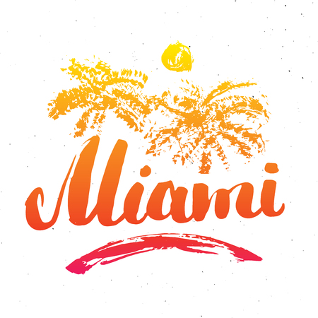 Miami Calligraphy lettering handwritten sign, Hand drawn grunge calligraphic text. Vector illustration .