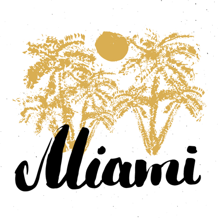 Miami Calligraphy lettering handwritten sign, Hand drawn grunge calligraphic text. Vector illustration . Reklamní fotografie - 126318322