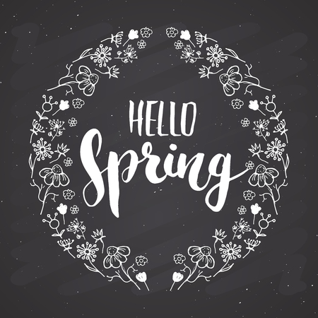 Hello Spring Calligraphy lettering handwritten sign, Hand drawn grunge calligraphic text. Vector illustration on chalkboard background.