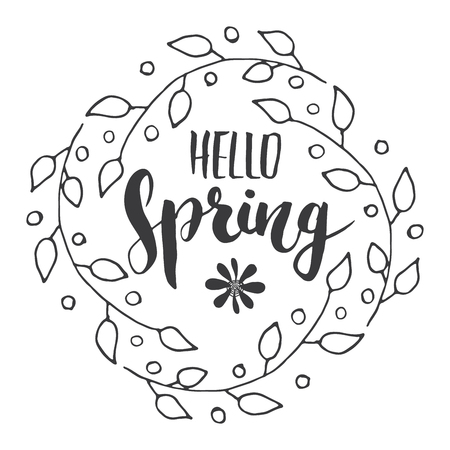 Hello Spring Calligraphy lettering handwritten sign, Hand drawn grunge calligraphic text. Vector illustration . Archivio Fotografico - 124068365