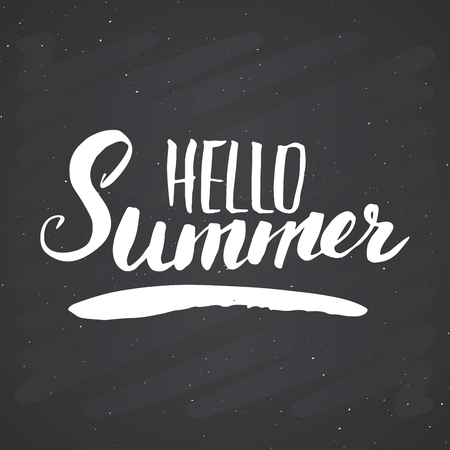 Hello Summer Calligraphy lettering handwritten sign, Hand drawn grunge calligraphic text. Vector illustration on chalkboard background.