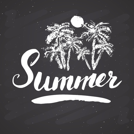 Summer Calligraphy lettering handwritten sign, Hand drawn grunge calligraphic text. Vector illustration on chalkboard background.