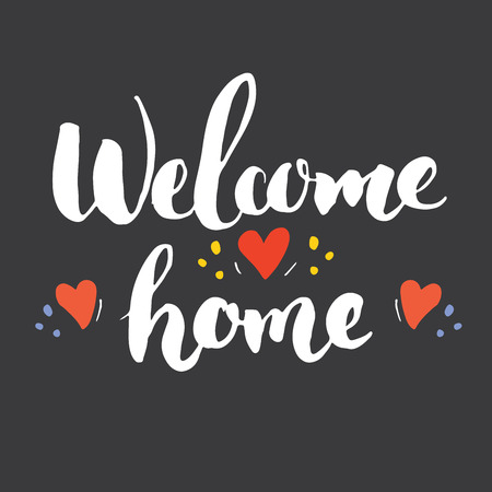 Welcome lettering handwritten sign, Hand drawn grunge calligraphic text. Vector illustration. on chalkboard background. Illustration