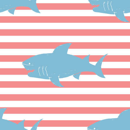 Shark seamless pattern, Hand drawn sketched doodle shark, vector illustration.