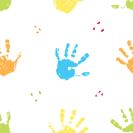 Hand stamp seamless pattern, paint stain background vector illustration. Ilustración de vector