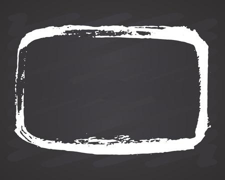 Frame or text box, grunge textured hand drawn elements set, vector illustration on chalkboard background. Ilustração