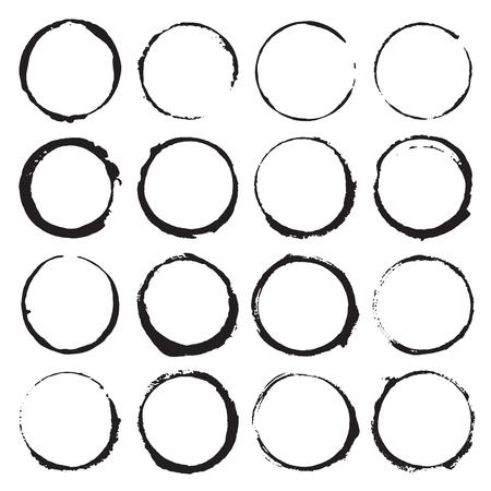 Marcos redondos, conjunto de elementos dibujados a mano con textura grunge, ilustración vectorial. Ilustración de vector