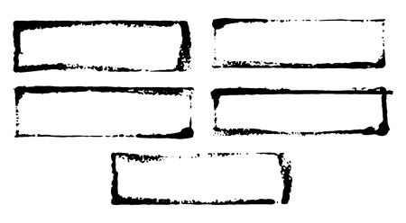 Frames en tekstvakken, grunge getextureerde hand getrokken elementen set, vectorillustratie.