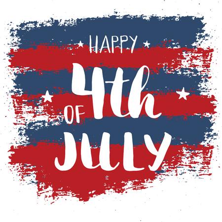 Happy Independence Day Vintage USA greeting card, United States of America celebration. Hand lettering, american holiday grunge textured retro design vector illustration Ilustração