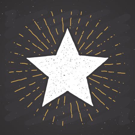 Star symbol vintage label, grunge textured retro badge, typography design vector illustration