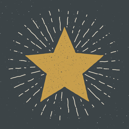 Star symbol vintage label, grunge textured retro badge, typography design vector illustration . Vettoriali