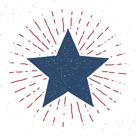 Star symbol vintage label, grunge textured retro badge, typography design vector illustration . Illustration