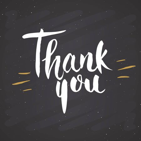 Thank you lettering quote, Hand drawn calligraphic sign. Vector illustration on chalkboard background. Ilustração