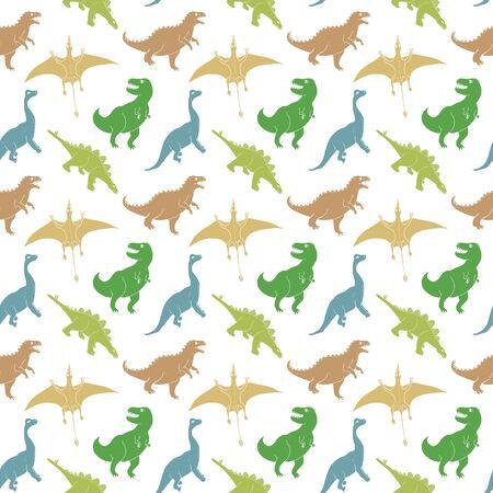 Dino Seamless Pattern, Cute Cartoon Hand Drawn Dinosaurs Doodles Vector Illustration.