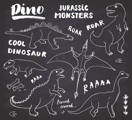 Dino Doodles Set. Cute Dinosaurs sketch and Letterings collection. Hand drawn Cartoon Dino Vector illustration on chalkboard background. Vector Illustration