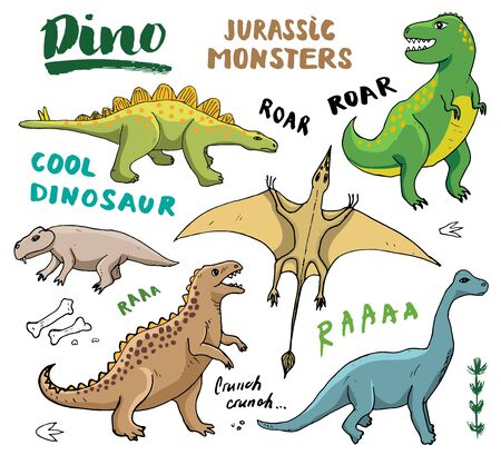 Dino Doodles Set. Cute Dinosaurs sketch and Letterings collection. Hand drawn Cartoon Dino Vector illustration.