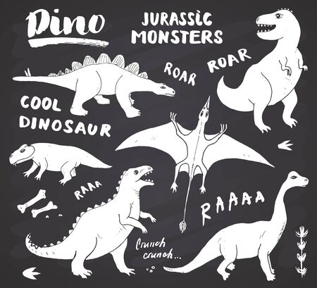 Dino Doodles Set. Cute Dinosaurs sketch and Letterings collection. Hand drawn Cartoon Dino Vector illustration on chalkboard background.