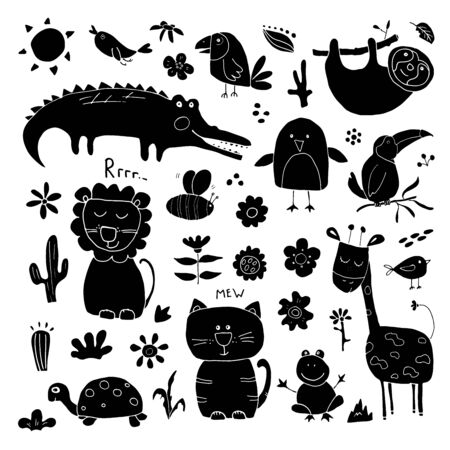Animal Doodles Set. Cute Animals sketch. Hand drawn Cartoon Vector illustration on white background.