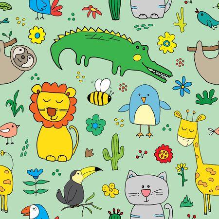 Cute Animals Seamless Pattern, Cartoon Hand Drawn Animal Doodles Vector Illustration. Ilustração