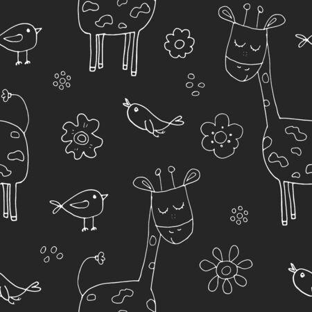 Cute Giraffe Seamless Pattern, Cartoon Hand Drawn Animal Doodles Vector Illustration .