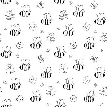 Cute Bee Seamless Pattern, Cartoon Hand Drawn honeybee Doodles Vector Illustration.