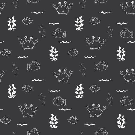 Cute Crab and fishes Seamless Pattern, Cartoon Hand Drawn Animal Doodles Vector Illustration Background . Illustration