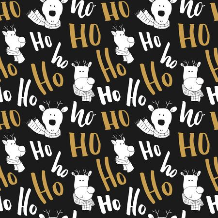 New Year and Christmas seamless pattern, with Ho Ho Ho hand drawn letters, vector Illustration Background.