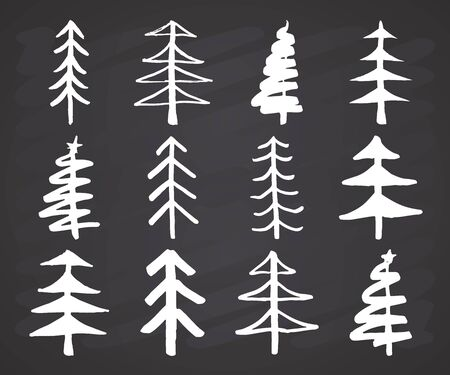 Christmas tree Hand drawn set. Pine trees collection vector Illustration on chalkboard background.