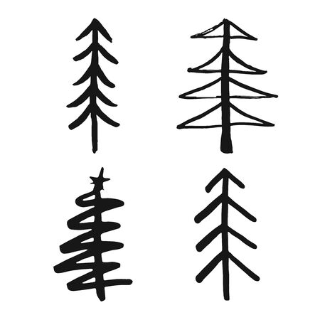 Christmas tree Hand drawn set. Pine trees collection vector Illustration isolated on white background.