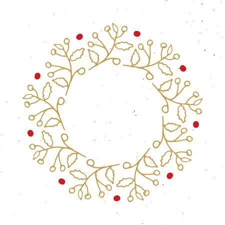 Christmas wreath Round Frames set hand drawn doodles. Vector illustration.