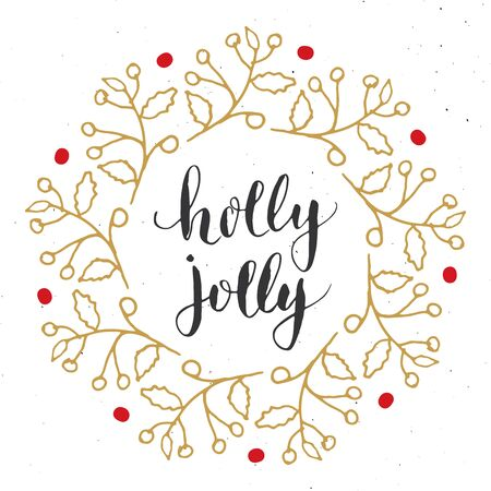 Merry Christmas Calligraphy Lettering Holly Jolly. Calligraphic Greetings Design. Vector illustration.