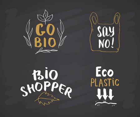 Eco and Bio Hand Drawn labels Set. Calligraphic Letterings with eco friendly sketch doodle elements. Vector illustration on chalkboard background.
