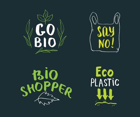 Eco and Bio Hand Drawn labels Set. Calligraphic Letterings with eco friendly sketch doodle elements. Vector illustration.