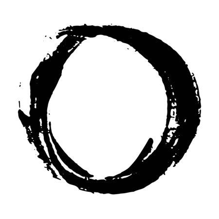 Marco redondo, elemento dibujado a mano con textura grunge, ilustración vectorial aislado sobre fondo blanco.