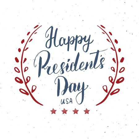 Happy President's Day Vintage USA greeting card, United States of America celebration. Hand lettering, american holiday grunge textured retro design vector illustration Фото со стока - 138038666