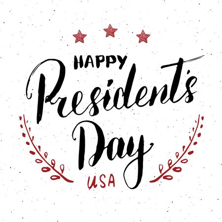 Happy Presidents Day Vintage USA greeting card, United States of America celebration. Hand lettering, american holiday grunge textured retro design vector illustration Иллюстрация